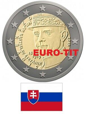 2 €  SLOVAQUIE COMMEMORATIVE 2 x PIECES    MILAN RASTISLAV STEFANIK   disponible