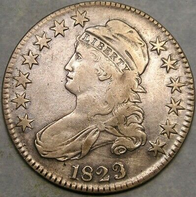 1823 Capped Bust Lettered Edge Silver Half Dollar Scarce Appealing Beauty Ugly 3