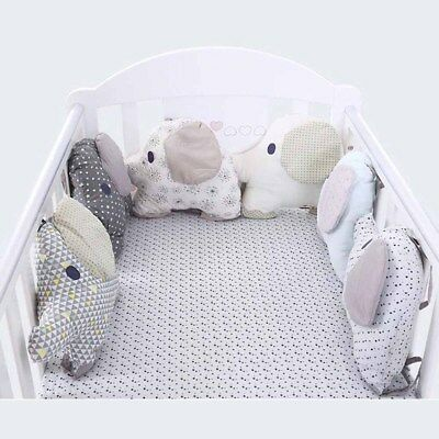 Baby Bed Crib Bumpers Soft Cotton Newborn Nursery Pad Protector Animal Elephant