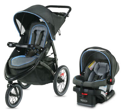 Graco FastAction Jogger LX Travel System Stroller w/ SnugRide 30 Car Seat Cielo