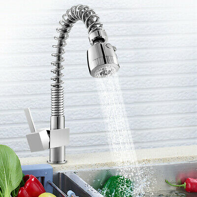 Pull Out Chrome Brass Single Handle Swivel Spray Kitchen Sink Faucet Mixer