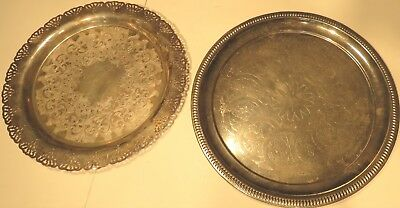 2 Serving Trays Platters  Silver Plated Home Decorators Inc & Made in England