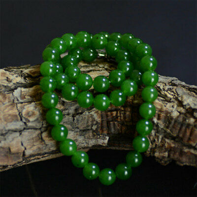100% Natural Green Jade Necklaces Beautiful Chinese Handcraft Jade Antiques 6mm