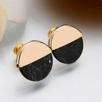1Pair Women Simple Geometric Turquoise Marble Pattern Earrings Ear Stud Jewelry