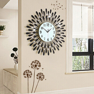 60Cm Clear Diamante Black Sunflower Metal Spiked Wall Clock Beaded Jeweled Uk