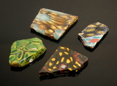 Four Roman Glass Mosaic/ Millefiori Fragments (M395)