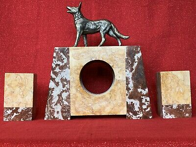 Lg Antique Art Deco Polished Rouge Marble 8 Day Mantle Clock Garniture With Dog