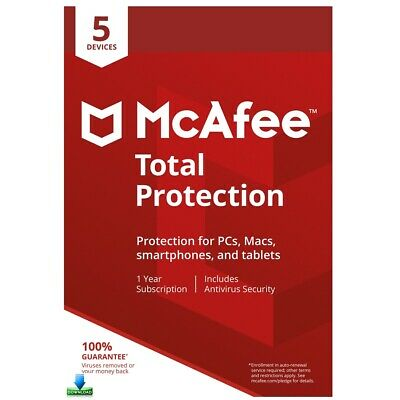 McAfee TOTAL PROTECTION 2020  5 Devices 1 Year Antivirus Key Mac Windows Android
