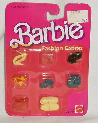 Barbie Fashion Extras Doll Shoes 9121 1984 Heels Red Yellow Blue 8 pr New Lot 2