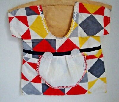 Retro Look Peg Bag  - Hand Made - With Wooden Hanger- Ideal For Retro Theme