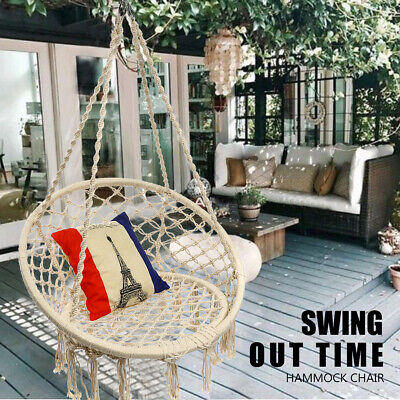 150KG Hanging Cotton Mesh Rope Macrame Round Hammock Chair Swing Outdoor