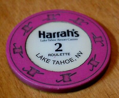 HARRAH'S LAKE TAHOE NEVADA NV 2 Two Roulette Casino Gambling Gaming Harrah Chip