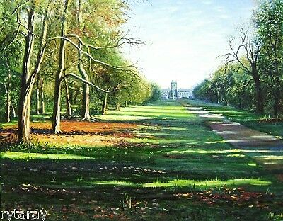 ACEO print of oil painting Ryta landscape English garden alley Castle COTTAGE