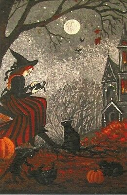 4X6 Print Of Painting Ryta Halloween Witch Black Cat Vintage Style Haunted House