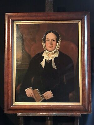 Very Large Mid 19Th Century English Portrait Of Seated Lady Holding Book - Frame