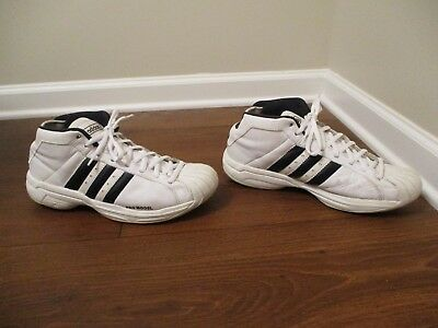 c668147fc83 Classic 2004 Used Worn Size 12 Adidas Pro Model Mid Shoes White Navy Silver