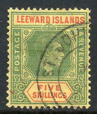 LEEWARD ISLANDS USED 1938 SG112 5/- Green and Red