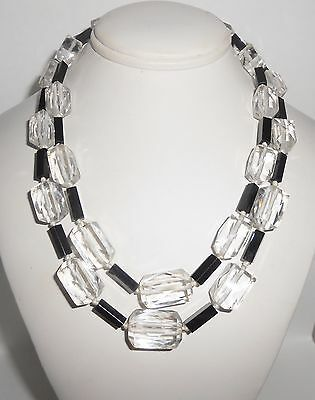 Art Deco Necklace Multi Strand Faceted Glass Black Glass Sterling Clasp
