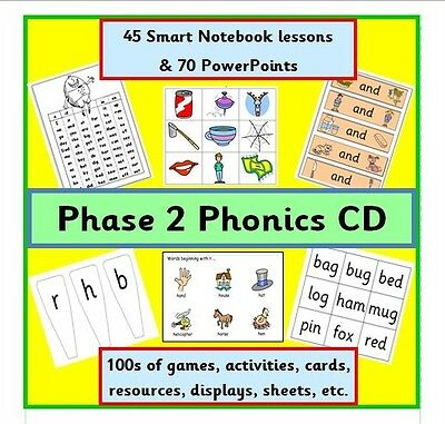 Phase 2 Phonics Cd Smart Board Lessons Games Activities Resources Letters Sounds