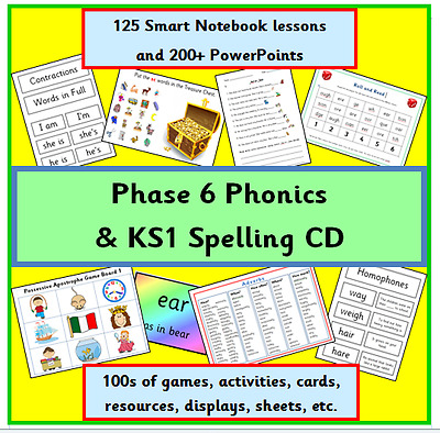 Phase 6 Phonics & Ks1 Spelling Cd Smartboard Lessons Game Resources Letter Sound