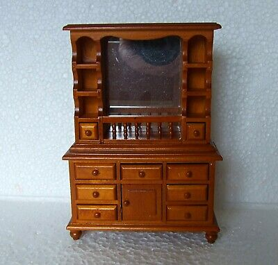 Dolls House Miniature 1:12  Furniture Pine / Walnut Colour Edwardian Dresser