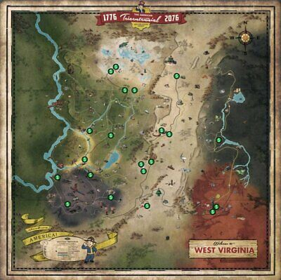 FALLOUT 76 * Glow in the Dark West Virginia Collector's BLACKOUT MAP * NEW