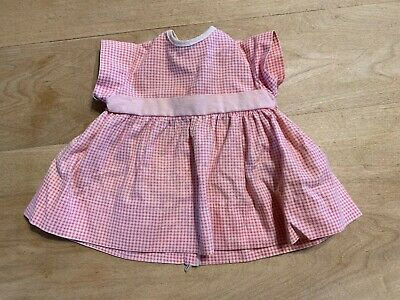 Sweet Vintage White/pink Checked Doll Dress