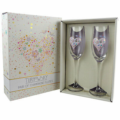 Set Of Two Champagne Flutes, Wedding, Engagement, Anniversary Gift Romantic Pres
