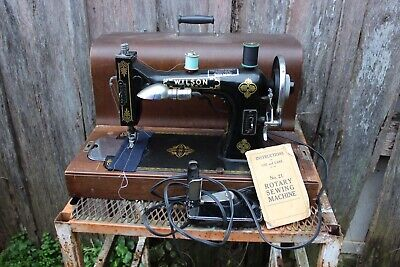 Vintage Wilson No. 21 Rotary Electric Sewing Machine With Wood Cover/Case
