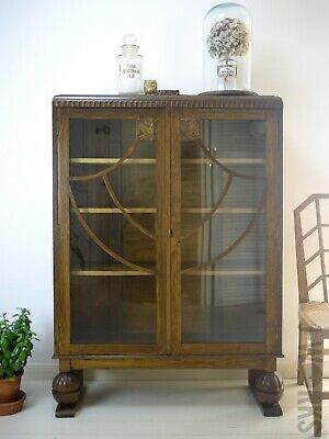 Vintage Oak Art Deco Bookcase Display Glass Cabinet Ball Feet Arts & Crafts