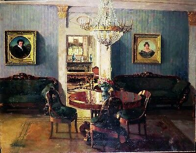 Antique Russian Oil painting on Canvas : Interior of Russian Manor 19th century