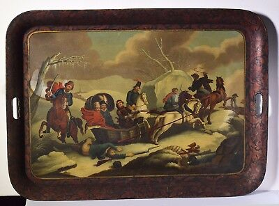 Antique 19С Russian Tray: Meeting Cossacks during Escape of Napoleon from Russia