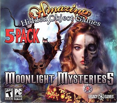 Amazing Hidden Object MOONLIGHT MYSTERIES 5 PC Game 5 PACK NEW