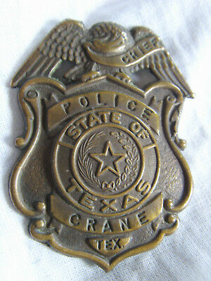 In10545 - Chief Police Of Texas Crane Badge