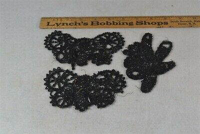 "antique bead appliqués Victorian black jet  trim dress hat Edwardian 5"" original"