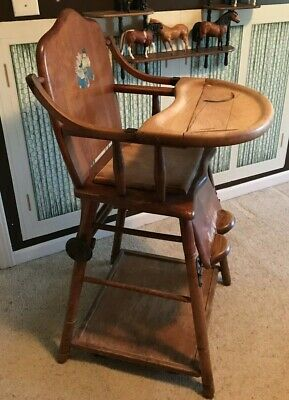 vintage wooden baby high chair E L Thompson Potty Play Table 1900-1950