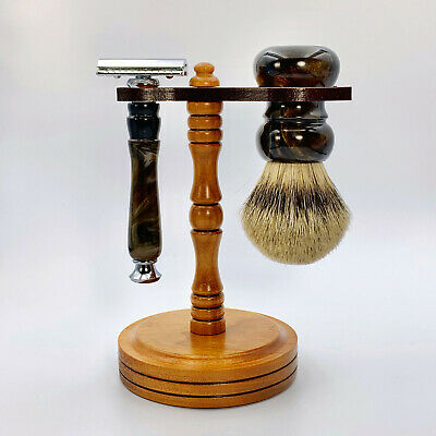 Spiffo Shaving Set 3 Piece Shaving Brush Safety Razor Stand Badger Handcrafted