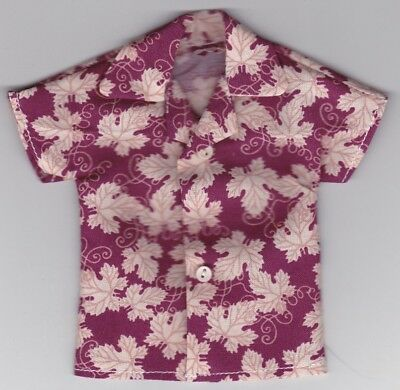 Homemade Doll Clothes-Beautiful Peacock Feathers Print Shirt fits Ken Doll B7