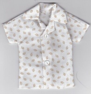 Homemade Doll Clothes-Gray With Floral Print Shirt that fits Ken Doll B2