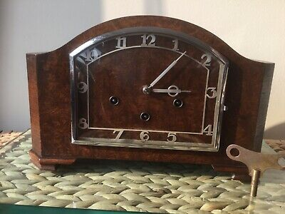 Art Deco 8 Day HAC Mantel Clock, Westminster Chimes, Serviced, New Springs & Key