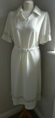 Vintage 1970's Ladies Cream Shimmering Dress Size M