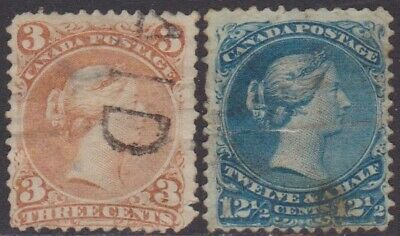 Canada QV 1868-90 Definitive SPACE FILLER 3c & 12.1/2c Used Stamps SG58 & SG60c