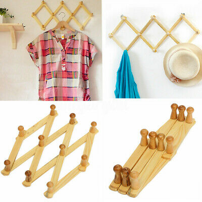 10 Peg Wooden Hanger Expandable Wooden Coat Rack Hat Closet Hooks Expanding  ❤