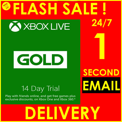 INSTANT Email Delivery- Xbox Live Gold 14 Days 2 Weeks Trial Key WORLDWIDE 24/7