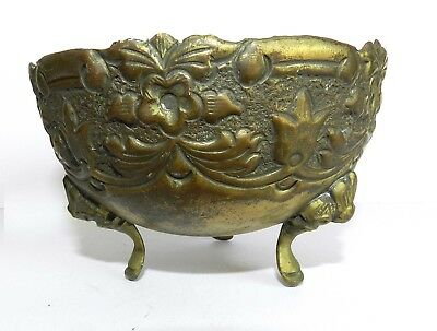 Vtg Antique Ornate Embossed Hand Work Brass Bowl Dish Pot Planter 1960's 3 Feets