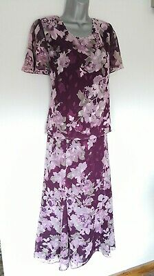 JACQUES VERT Ladies Wedding Cruise PURPLE Floral COORD Skirt & Top UK size 10