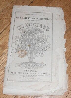 1846 Antique Dr. Wistar's Free Almanac for 1846 Quack Medicine Advertising