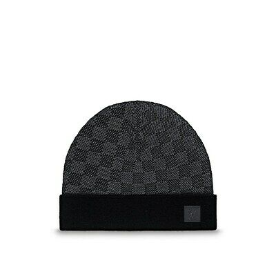 bd0e539b3a39 LOUIS VUITTON Mens Grey Blue Damier LV Logo Wool Beanie Hat