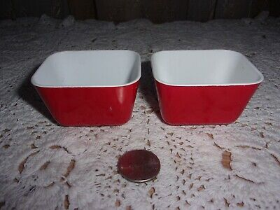 """vntg Banner toy Pyrex style plastic red refrigerator dishes 2 pcs 2.5"""" HTF"""