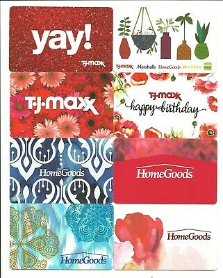 Lot of (8) Marshalls Homegoods TJ Maxx Gift Cards No $ Value Collectible Flowers